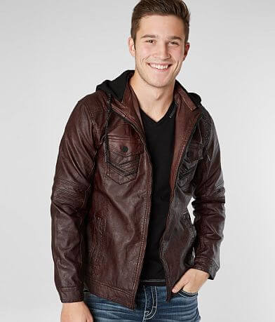 Buckle Black Faux Leather Hooded Moto Jacket