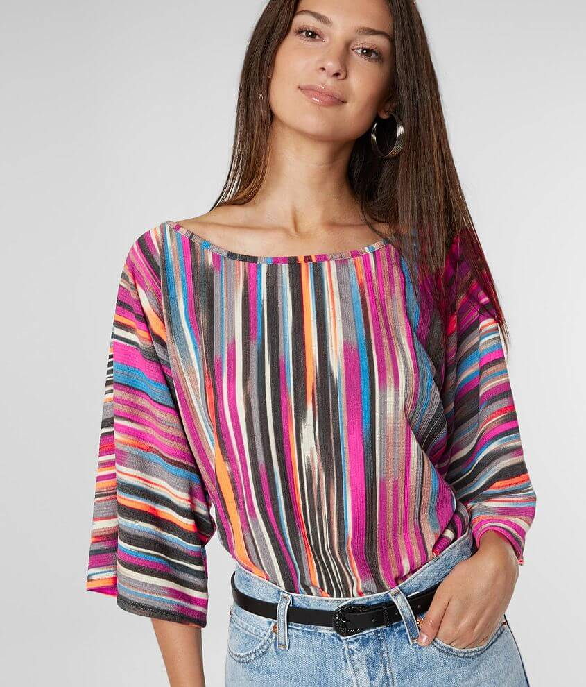 Willow & Root Watercolor Stripe Dolman Top front view
