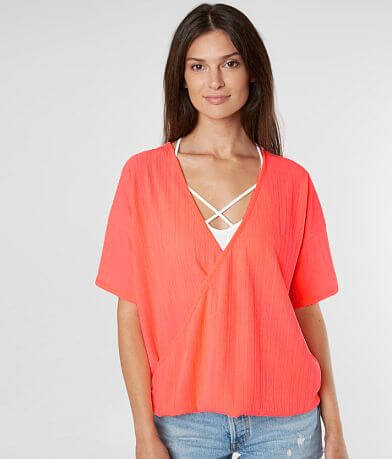 Willow & Root Neon Surplice Top