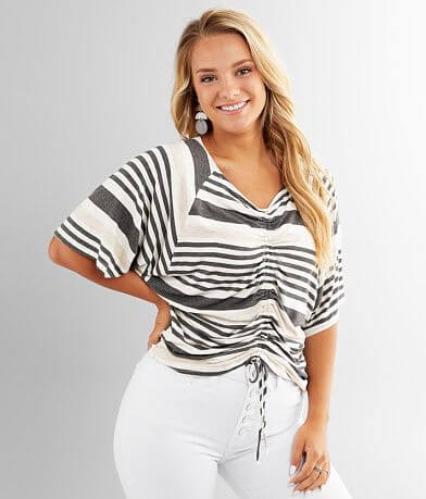 Daytrip Striped Front Cinch Tie Top