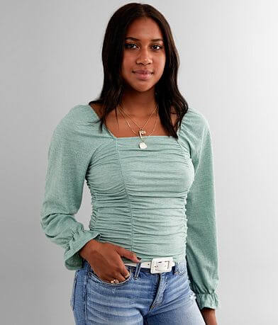Willow & Root Ruched Square Neck Top