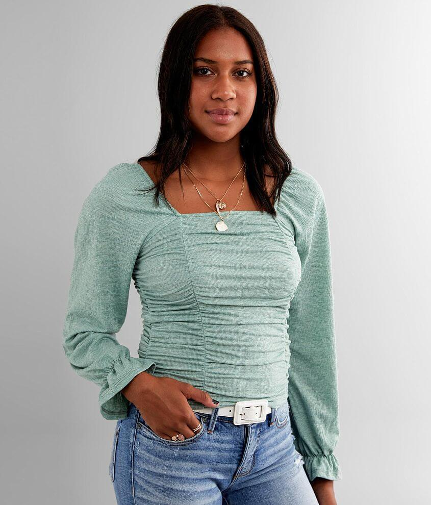 Willow & Root Ruched Square Neck Top front view