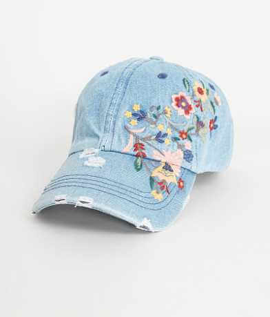 Denim Floral Hat