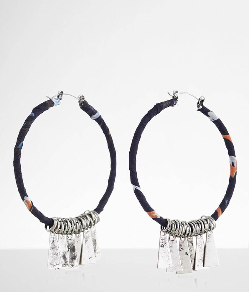 BKE Fabric Wrapped Hoop Earring front view