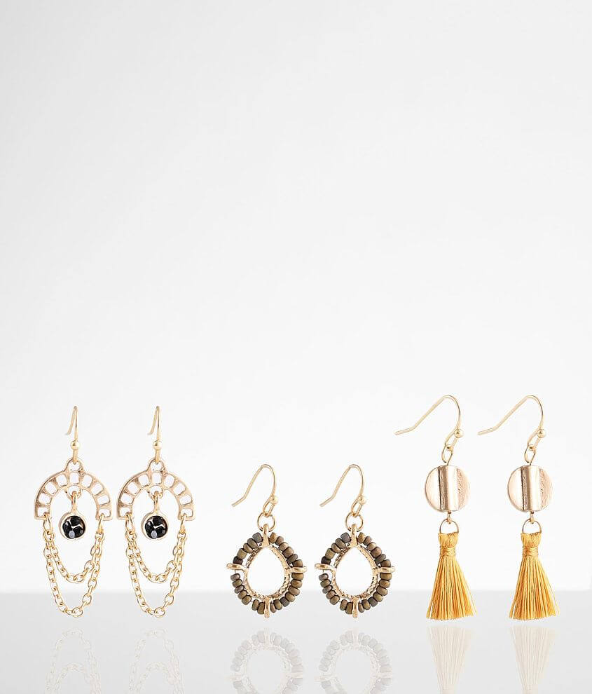 BKE 3 Pack Assorted Drop Earring Set front view