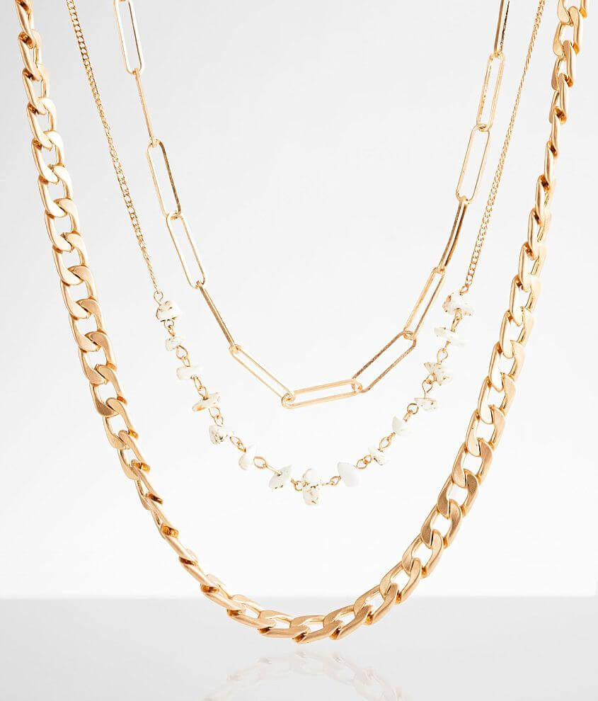 BKE 3 Pack Chain Necklace Set front view