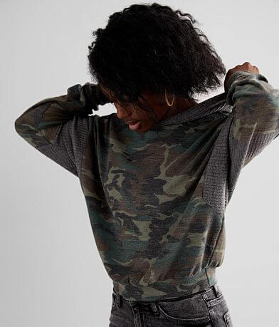 Modish Rebel Pieced Camo Hoodie