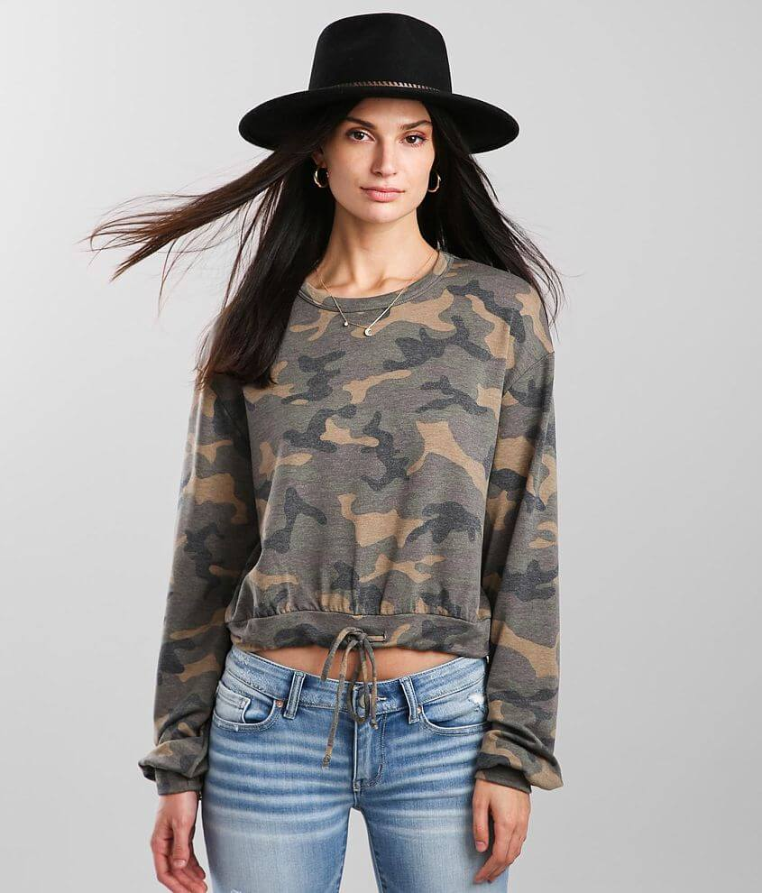 On A Whim Camo Print Cropped Pullover front view