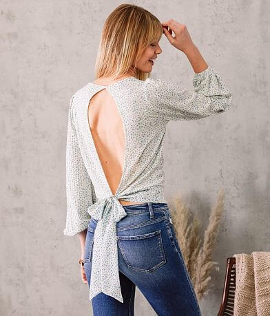 Willow & Root Dainty Floral Open Back Top