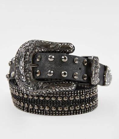 BKE Embellished Leather Glitz Belt