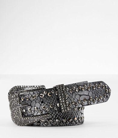 BKE Metallic Snake Print Leather Belt