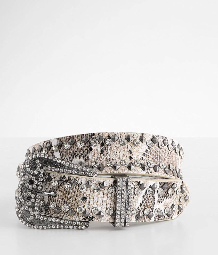 BKE Glitz Snake Print Leather Belt front view