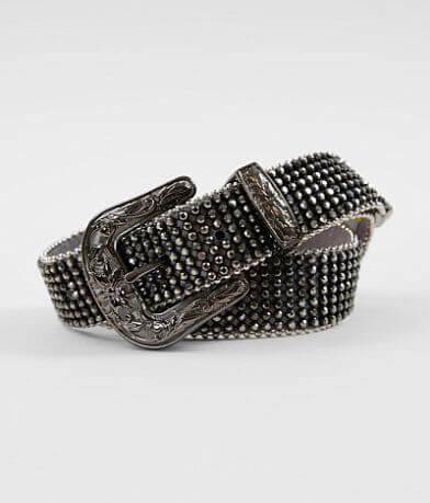BKE Leather Glitz Rhinestone Belt