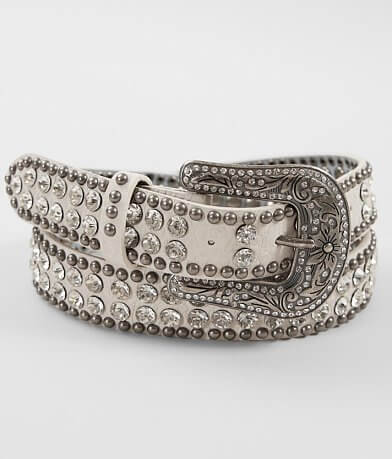 BKE Skinny Leather Glitz Belt