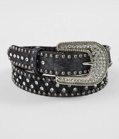 BKE Embellished Whipstitch Leather Belt
