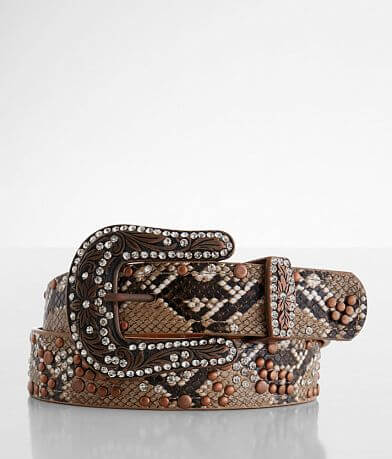 BKE Snake Print Glitz Leather Belt