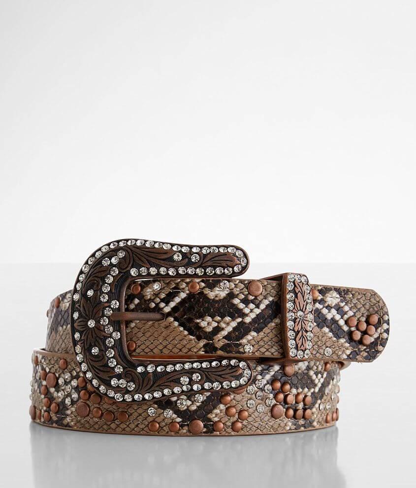 BKE Snake Print Glitz Leather Belt front view