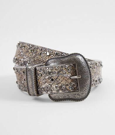 BKE Glitz Snake Print Leather Belt
