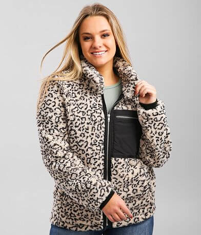 KanCan Signature Animal Print Sherpa Jacket