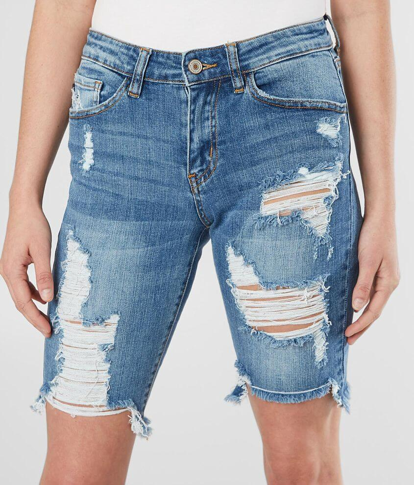 KanCan Mid-Rise Bermuda Stretch Short front view