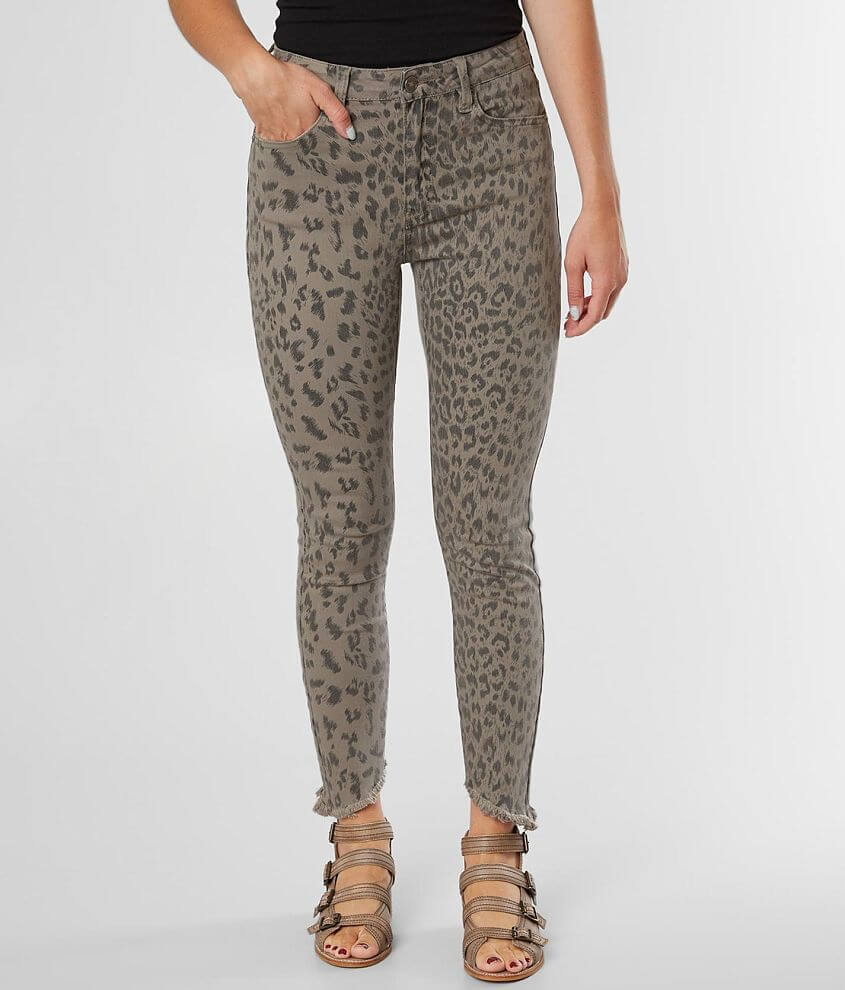 KanCan Leopard Mid-Rise Ankle Skinny Stretch Jean front view
