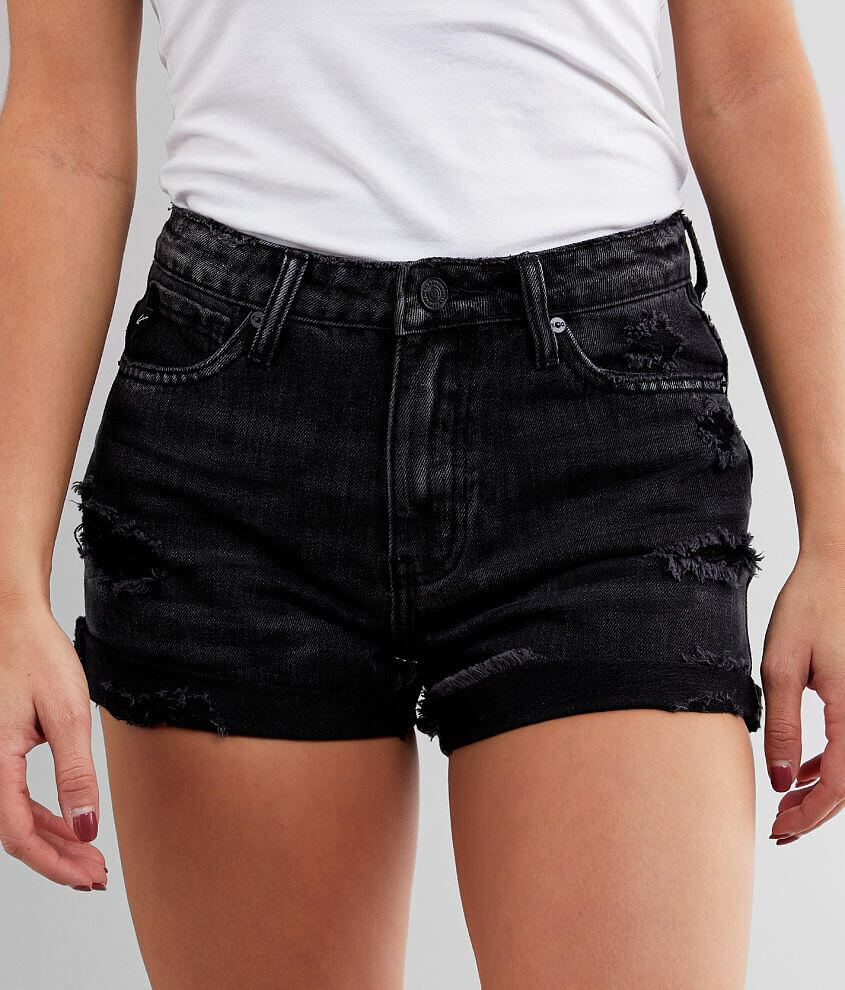 KanCan Washed High Rise Cuffed Short front view