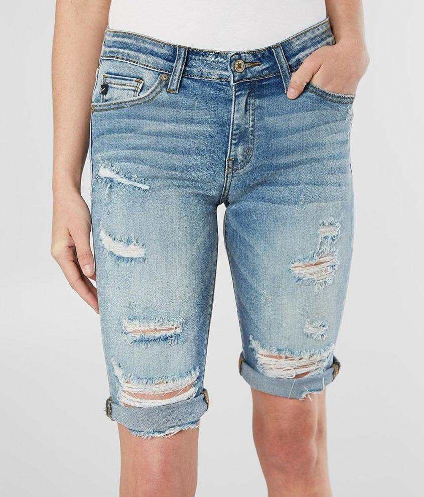 KanCan Mid-Rise Bermuda Stretch Cuffed Short front view