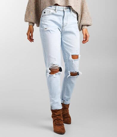 KanCan High Rise Relaxed Taper Stretch Cuffed Jean
