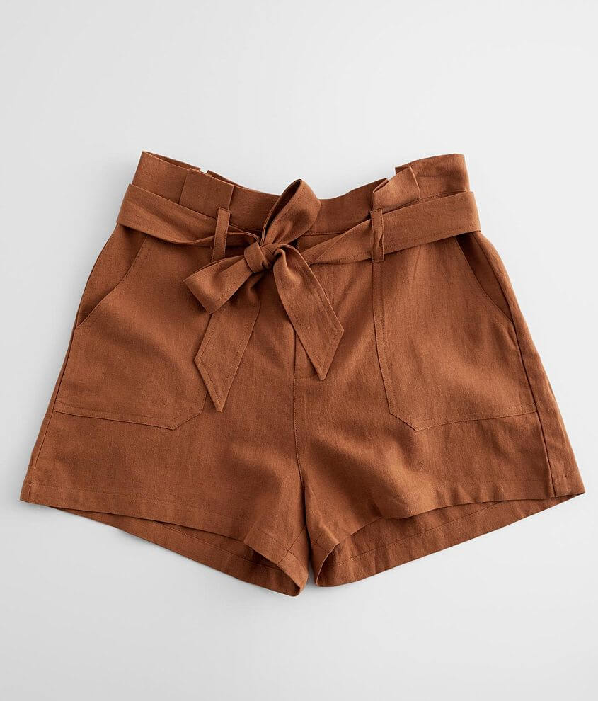KanCan High Waisted Paperbag Short front view
