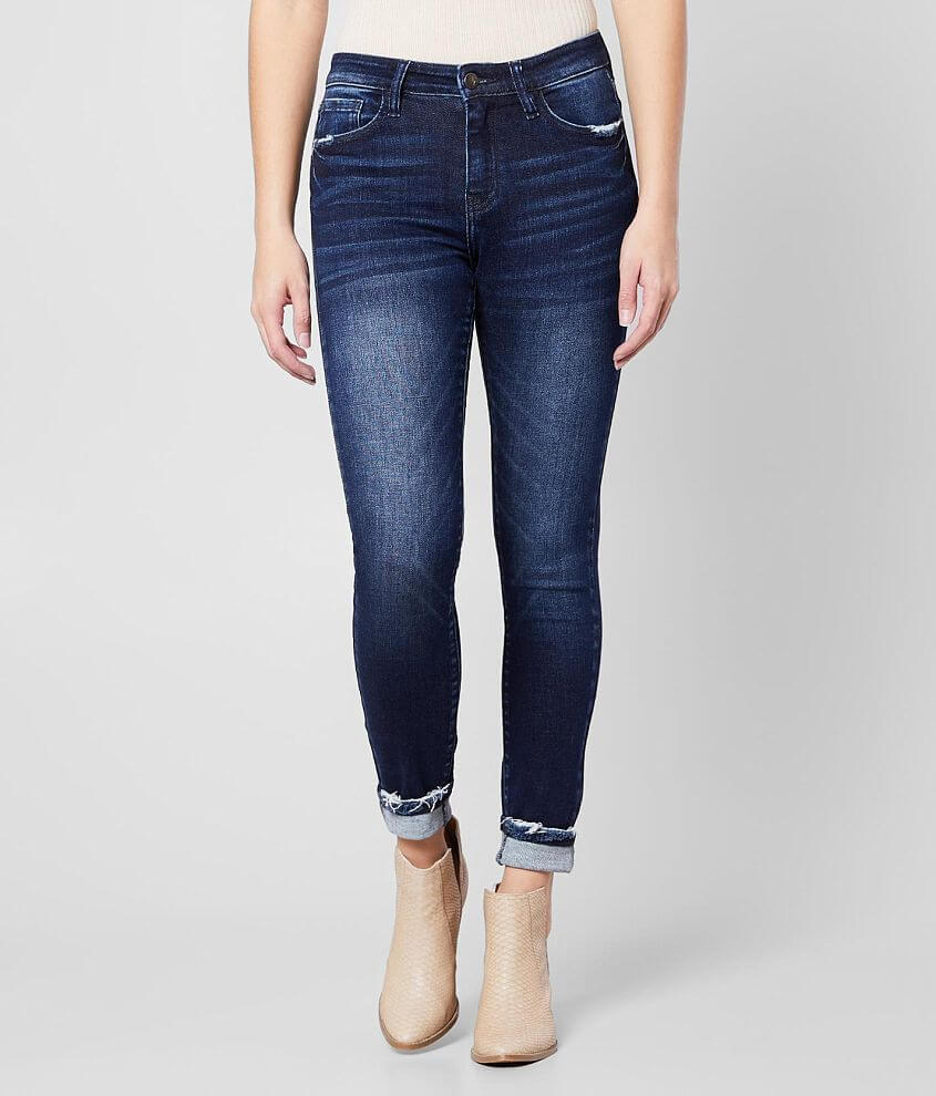 KanCan Signature Mid-Rise Ankle Skinny Cuffed Jean front view