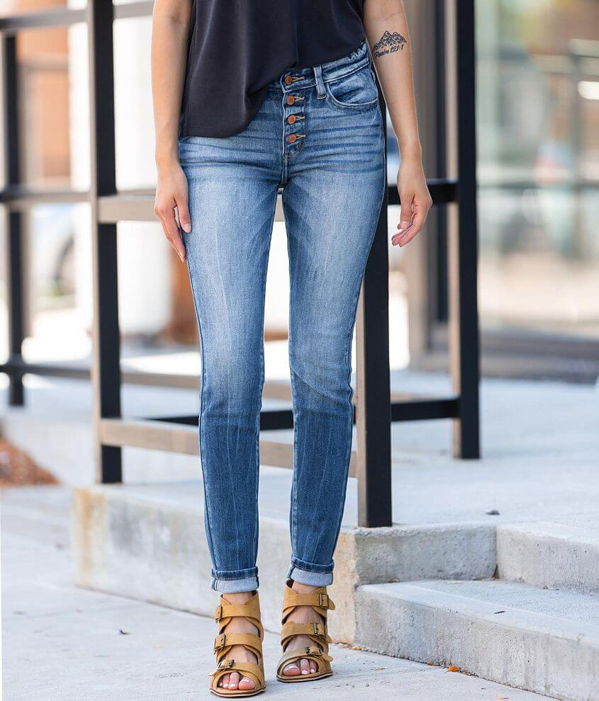 KanCan Signature Mid-Rise Skinny Stretch Jean front view