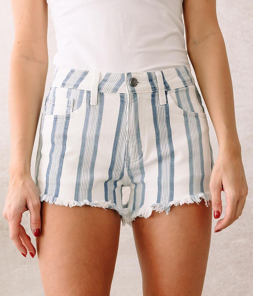 KanCan Signature High Rise Striped Stretch Short front view
