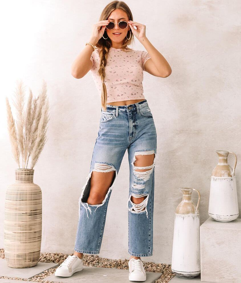 KanCan Signature High Waisted Straight Jean front view