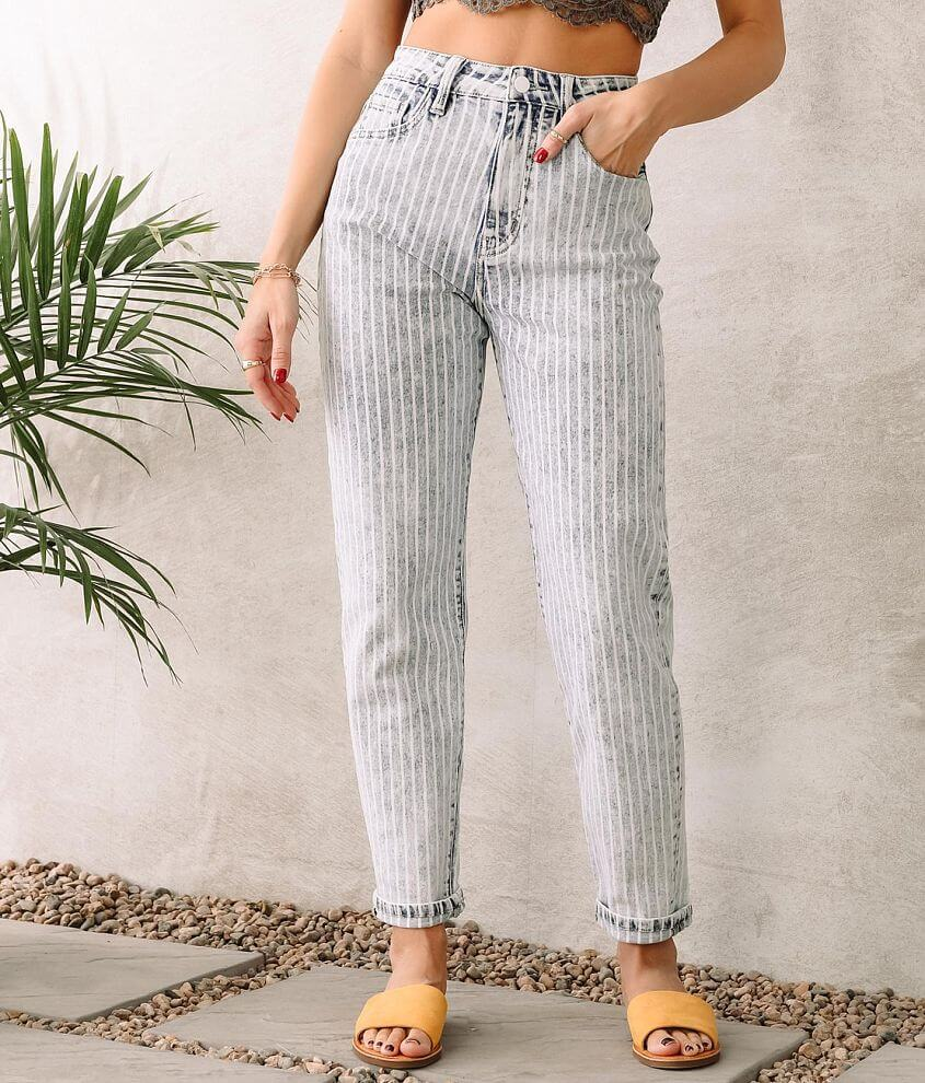 KanCan Signature Striped Ultra High Baggy Fit Jean front view