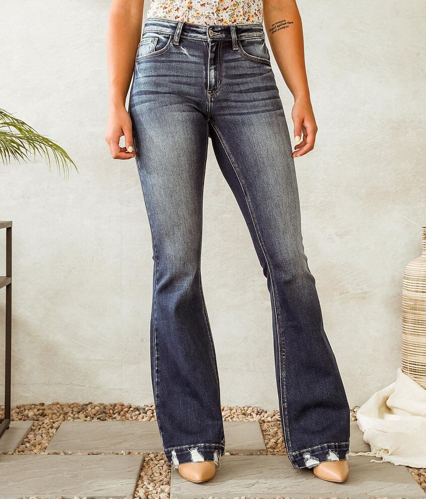 KanCan Signature Kurvy Mid-Rise Flare Stretch Jean front view