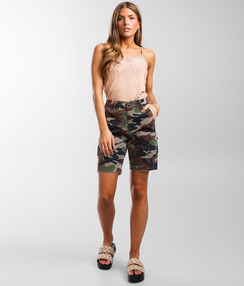 Gilded Intent High Rise Camo Cargo Short front view