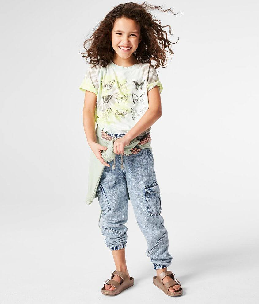 Girls - Gilded Intent Cargo Denim Jogger Jean front view