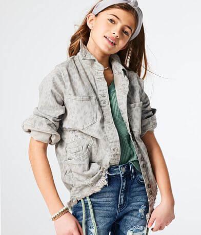 Girls - KanCan Signature Leopard Denim Jacket
