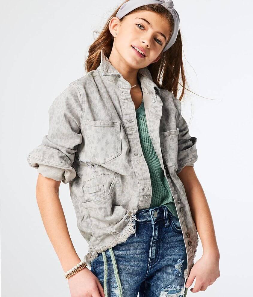 Girls - KanCan Signature Leopard Denim Jacket front view