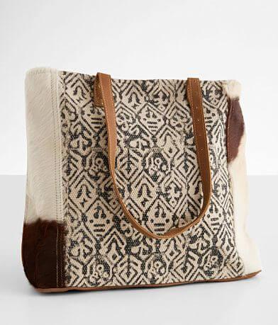 Myra Bag Cotton Rug Leather Tote