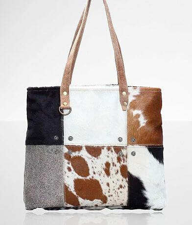 Myra Bag Multi-Patch Cowhide Leather Tote Purse