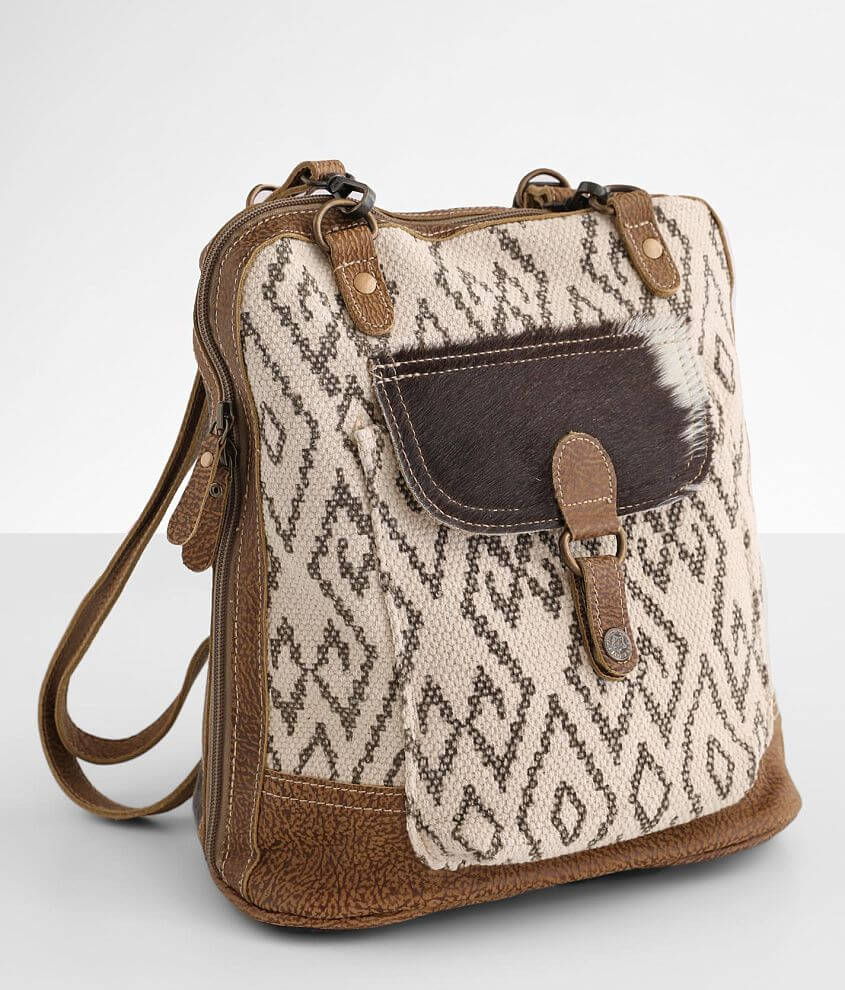 Myra Bag Amber Pieced Leather Backpack front view