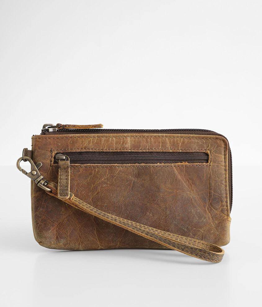 Myra Bag Super Tan Leather Wristlet Wallet front view