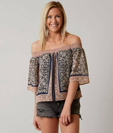 Willow & Root Printed Chiffon Cropped Top