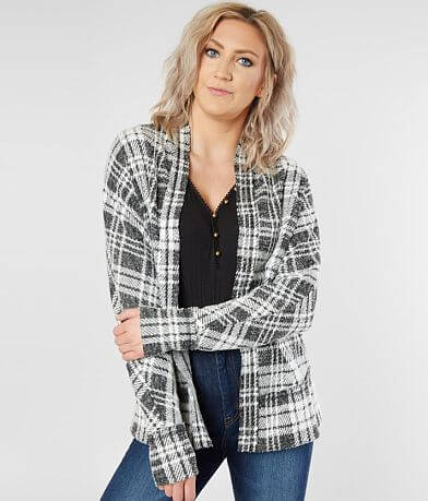 BKE Plaid Cardigan Sweater