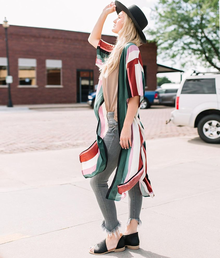 Willow & Root Striped Duster Kimono front view