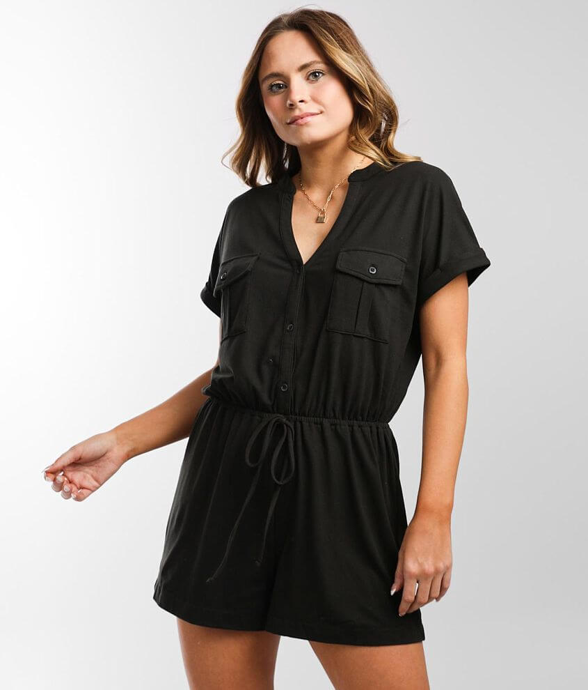 Daytrip Brushed Knit Romper front view