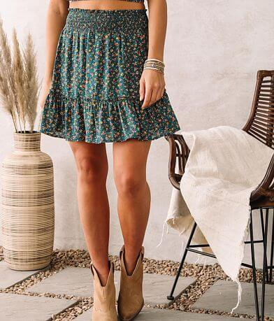 Willow & Root Dainty Floral Smocked Skirt
