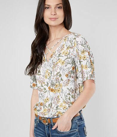 Daytrip Strappy Floral Chiffon V-Neck Top
