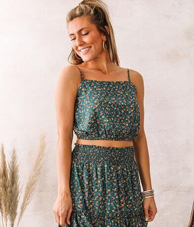 Willow & Root Dainty Floral Smocked Tank Top